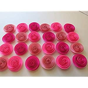 Shades of Pink Baby Shower Decor, Set of 24 Roses, 1.5 Inch Paper Flowers, Girl Birthday Party, Princess Theme Tea Party, Bedroom Decor, Wedding Ideas 12