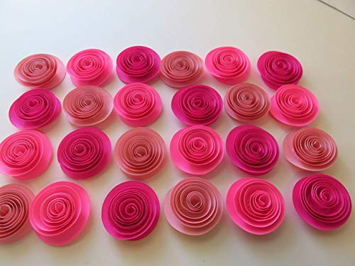 """Shades of Pink Baby Shower Decorations, Set of 24 Small Roses, 1.5"""" Paper Flowers, Girl Birthday Party, Princess Theme Tea Party, Bedroom Decor, Wedding Ideas"""