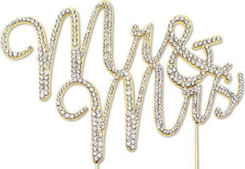 Mr and Mrs Cake Topper, Wedding Anniversary Decorations, Crystal Rhinestone Gold Script