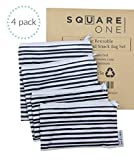 SquareOne 4 Piece Reusable Bag Set - Reusable Sandwich Bags - Reusable Snack
