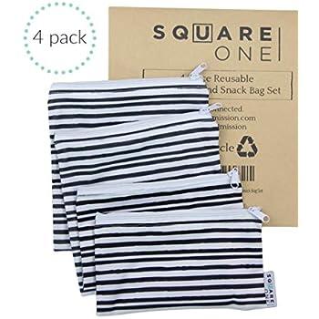 SquareOne 4PC Reusable Bag Set - Reusable Sandwich Bags - Reusable Snack Bags - 2 Snack Size Bags / 2 Large Sandwich Bags, Machine Washable, Charcoal Grey Watercolor