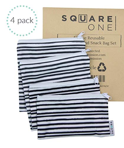 SquareOne 4 Piece Reusable Bag Set - Reusable Sandwich Bags - Reusable Snack Bags - 2 Small Bags / 2 Large Bags, Machine Washable, Charcoal Grey Watercolor