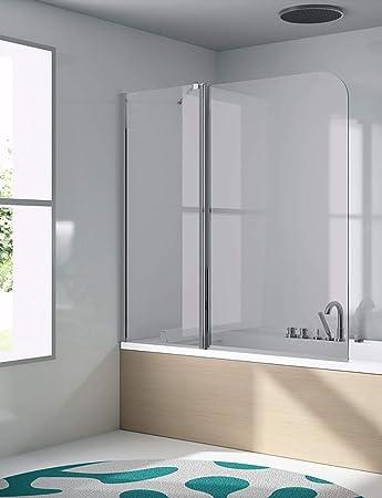 Mampara de Bañera Frontal de 1 cristal fijo + 1 cristal abatible - Cristal de Seguridad de 6 mm - Modelo 300 BAN-2 (48 + 72=120 cm): Amazon.es: Bricolaje y herramientas