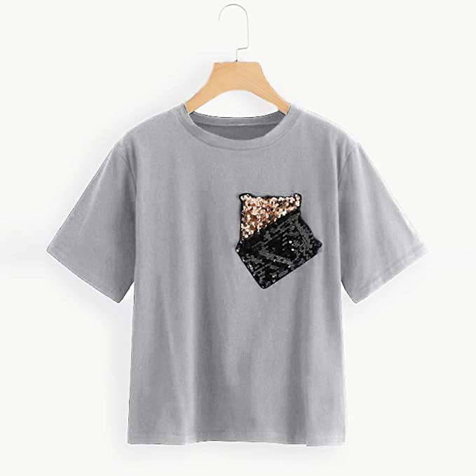 Amazon.com: PAQOZ Womens Casual Contrast Sequin Pocket Loose Short Sleeve Round Neck T-Shirt Tops: Clothing