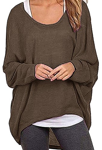 Dutebare Women Oversized Baggy Shirts Batwing Sleeve Pullover Tops Casual Loose Knit Blouse (XL, Brown) (Sweater Oversized Boatneck)