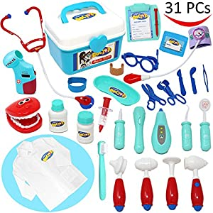 Joyin Toy Doctor Kit 31 Pieces Pretend-n-Play Dentist Medical Kit with Electronic Stethoscope and Coat for Kids Holiday Gifts, School Classroom, Easter Stuffers and Doctor Roleplay Costume Dress-Up.