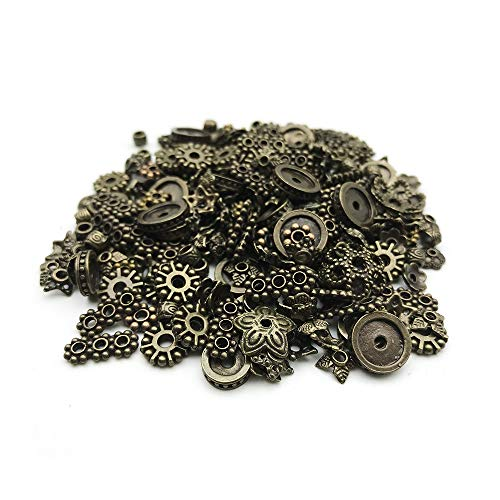HANYAN 200 PCS Spacer Beads Mixed Style Metal Alloy Jewelry Findings Accessories Bronze Color 3-12 mm Bead end Caps for Jewelry Makeing