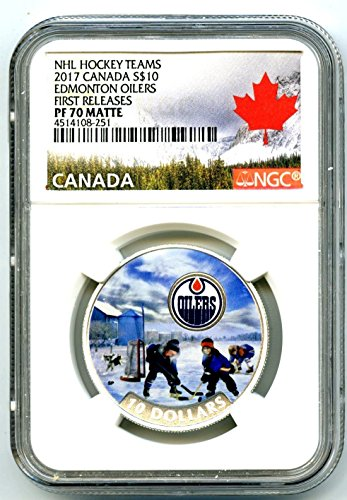 2017 Canada Silver Proof NHL PASSION TO PLAY EDMONTON OILERS HOCKEY FIRST RELEASES MATTE $10 PF70 NGC ()