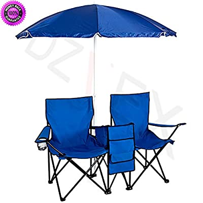 DzVeX Picnic Double Folding Chair w Umbrella Table Cooler Fold Up Beach Camping Chair And folding outdoor chairs camping furniture clearance backpack chairs lawn chairs on sale camp chairs lawn