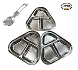 JIAJU 3-Pack STAINLESS STEEL Plate: 8.3'' Ultra-Portable Dinnerware Set | Divided Plates | Kids Plates | BBQ Camping Plate | Reusable Plates BPA Free set 1 Spoon Fork