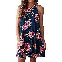 MITILLY Women's Halter Neck Boho Floral Print Chiffon Casual Sleeveless Short Dress