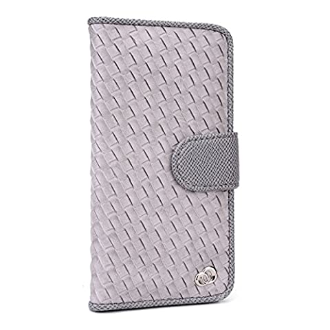 Kroo Embossed Woven Designed Flip Folio Wallet Case for Apple iPhone 6 Plus - Non-Retail Packaging - (12 South Iphone 6 Plus Dock)