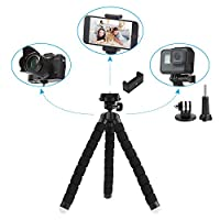 Aureday iPhone and Android Phone Tripod, Portable and Adjustable Phone Stand Holder with Wireless Remote and Universal Clip, Flexible Tripod for Cellphone, Gopro, Point-and Shoot Camera(Upgraded) from Aureday