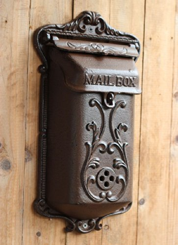 Floral Colonial Style Wall Decor Cast Iron French Pattern Letterbox