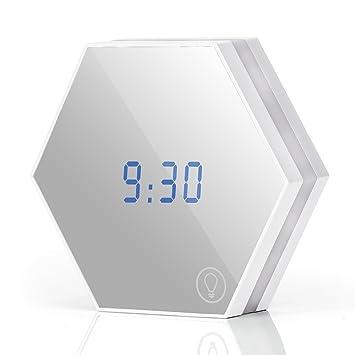 Reloj Despertador con Luz LED, Luz Nocturna Atenuable Recargable, Reloj Digital De Mesa,