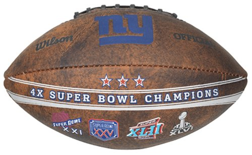 Gulf Coast Sales NFL New York Giants Commemorative 4X Champ Football, - Super Bowl Champs Giants