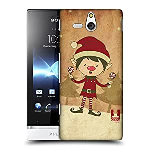 Head Case Designs Duende Clásicos De Navidad Caso Duro Trasero para Sony Xperia U / ST25i Kumquat