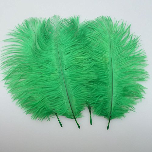 Sowder 20pcs Natural 10-12inch(25-30cm) Ostrich Feathers Plume for Wedding Centerpieces Home Decoration (dark green)