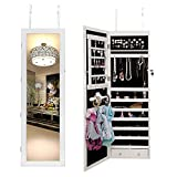 DlandHome Full Length Mirror, Hang Mirror Rectangle with Jewelry Armoire Organizer, DQMJCA-L063-White