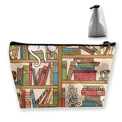Nerd Book Lover Kitty Sleeping Over Bookshelf In Library Cosmetic Makeup Bag/Pouch/Clutch Travel Case Organizer Storage Bag For Women¡¯s Accessories Toiletry Beauty,Skincare Travel -