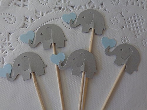 Light Grey Elephants holding Light Blue hearts Cupcake Toppers - Food Picks- Blue and Gray Elephants - Baby Boy Shower Appetizer Picks (Set of 24) by Honeybear Party Boutique