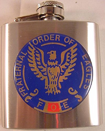 FOE FRATERNAL ORDER OF EAGLES LOGO ON STAINLESS STEEL 3 OUNCE FLASK NEW