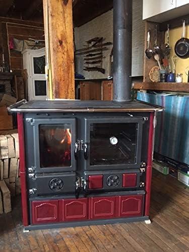 Wood Burning Cook Stove La NordicaRosa Maiolica Bordeaux Made in Italy