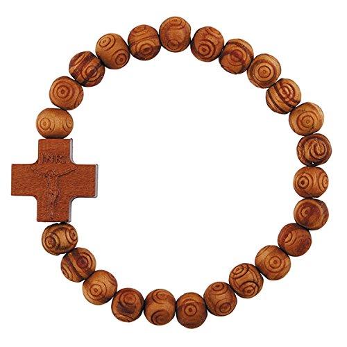 Olive Wood Finish Religious Crucifix Stretch Bracelet, 7 inch ()