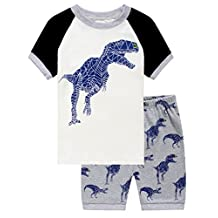 Family Feeling Little Boys Dinosaur Shorts Set Pajamas 100% Cotton Clothes