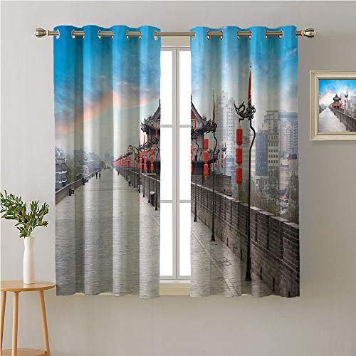 Jinguizi Ancient China ations Grommet Privacy Assured Window Treatment,Old Tower on City Wall Xian City at Dusk Asian Landscape Image,Night Darkening Curtains,72W x 72L -