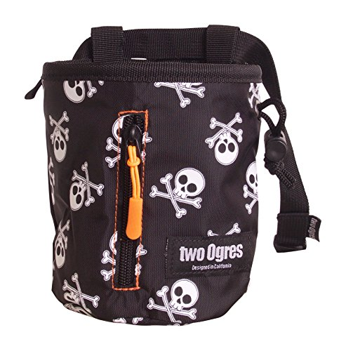 two Ogres Basique v2 Climbing Chalk Bag with Belt and Zippered Pocket for Climbing, Gymnastics, Weight Lifting (Skulls)