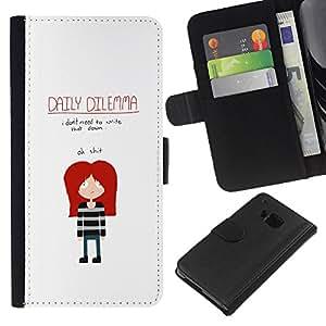 KLONGSHOP // Tirón de la caja Cartera de cuero con ranuras para tarjetas - DIVERTIDO EMO DILEMA DIARIO - HTC One M7 //
