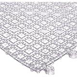"""San Jamar VM5280 Versa-Mat Interlocking Bar Mat, 12"""" Length x 12"""" Width, Clear"""