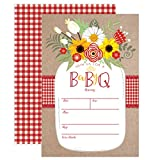 baby bbq - Baby BBQ Invitation, Baby Shower Invite, Baby Q Barbeque Summer Invition Printable, Mason Jar Floral, 20 Fill in Invitations and Envelopes