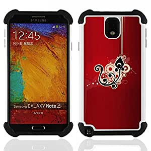 GIFT CHOICE / Defensor Cubierta de protección completa Flexible TPU Silicona + Duro PC Estuche protector Cáscara Funda Caso / Combo Case for Samsung Galaxy Note 3 III N9000 N9002 N9005 // Black Drawing Pattern Floral //