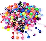 plastic belly button rings - CrazyPiercing Assorted Lot of 100PCS Banana Piercing 14G Belly Button Rings Piercing Jewelry