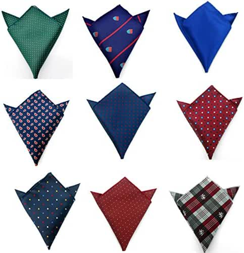 Weishang Men's Jacquard Pocket Squares Handkerchiefs 9pcs/lot Multicolor