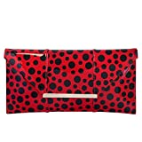 Polka Dot Patent Envelope Clutch, Red
