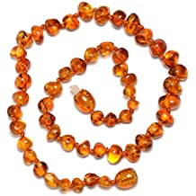 Baltic Genuine Amber Teething Necklace for Baby - Natural Analgesic - Safety Knotted - Nice Color for Boy - Dark Cherry (12.6 inches, cognac)