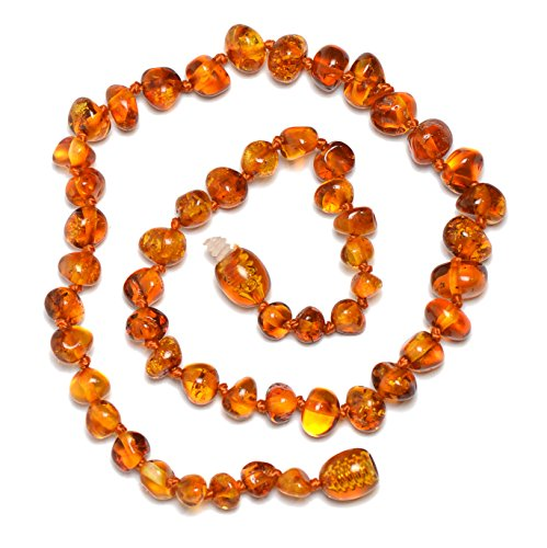 Baltic Genuine Amber Teething Necklace for Baby - Natural Analgesic - Safety Knotted - Nice Color for Boy - Dark Cherry (11.8 inches, cognac)