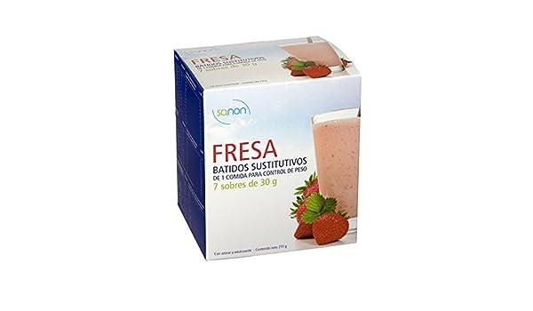 Sanon Batido Sustitutivo Fresa - 2 Paquetes de 7 Unidades: Amazon.es: Salud y cuidado personal