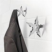 SHIYONG(TM) 2 Pcs Wall Coat Hook Metal hanger Novelty Home Decor Star Dart Shape Ninja Cool Stainless Steel Clothes Supplies