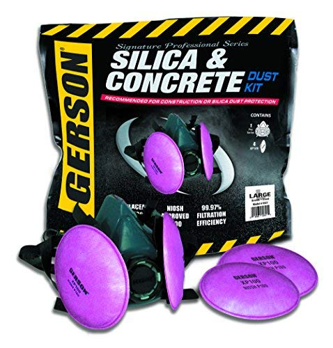Gerson Silica & Concrete Dust Respirator Kit with Pancake Filters - Signature Pro Series (Large) by Signature Professional Series