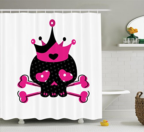 (Ambesonne Skulls Decorations Collection, Cute Royal Skull with Crown and Crossbones Day of the Dead Queen Heart Eyes, Polyester Fabric Bathroom Shower Curtain Set with Hooks, Black White Pink)