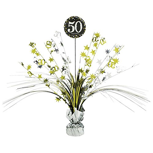 50 Centerpiece Spray (Amscan Sparkling Celebration 50th Birthday Centerpiece Spray (One Size) (Black/Gold))