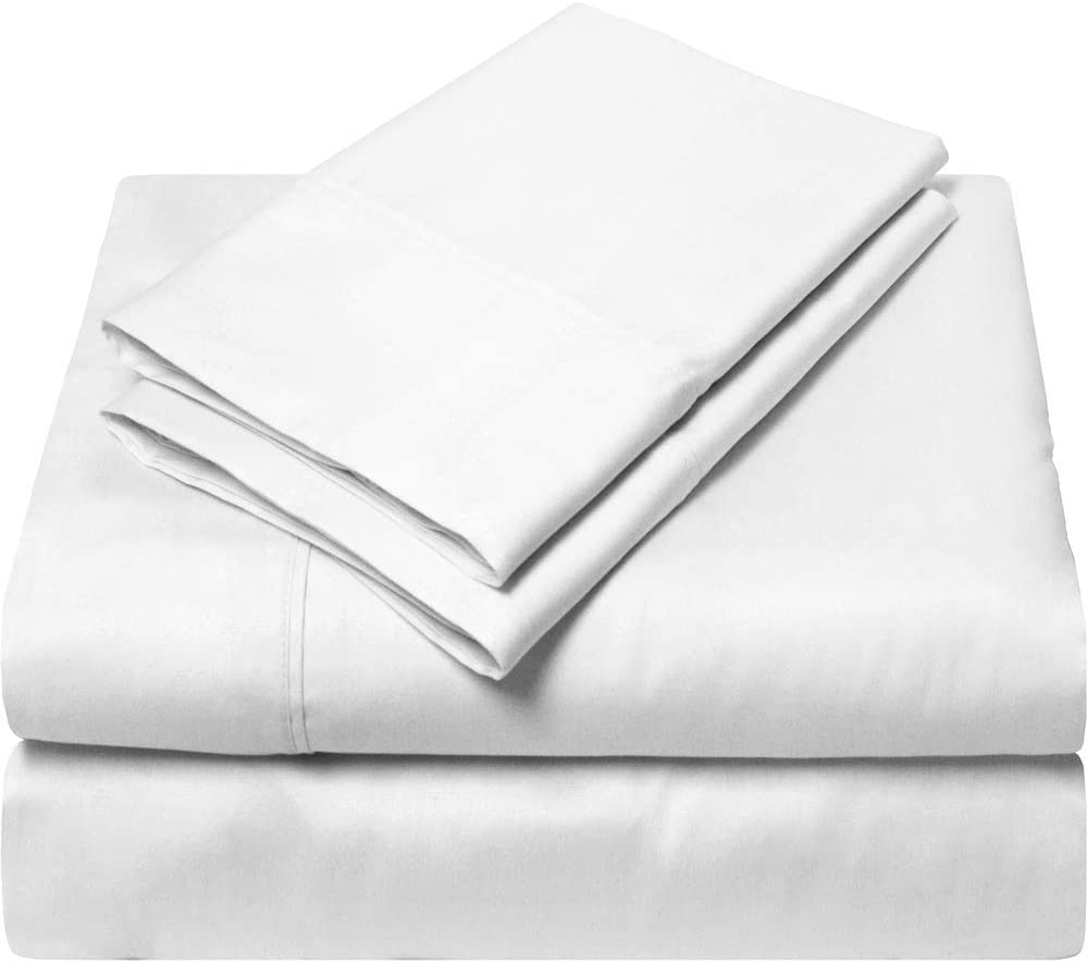 King Size Sheets Luxury Soft 100% Egyptian Cotton - Sheet Set for King Mattress White Solid 600 Thread Count Deep Pocket