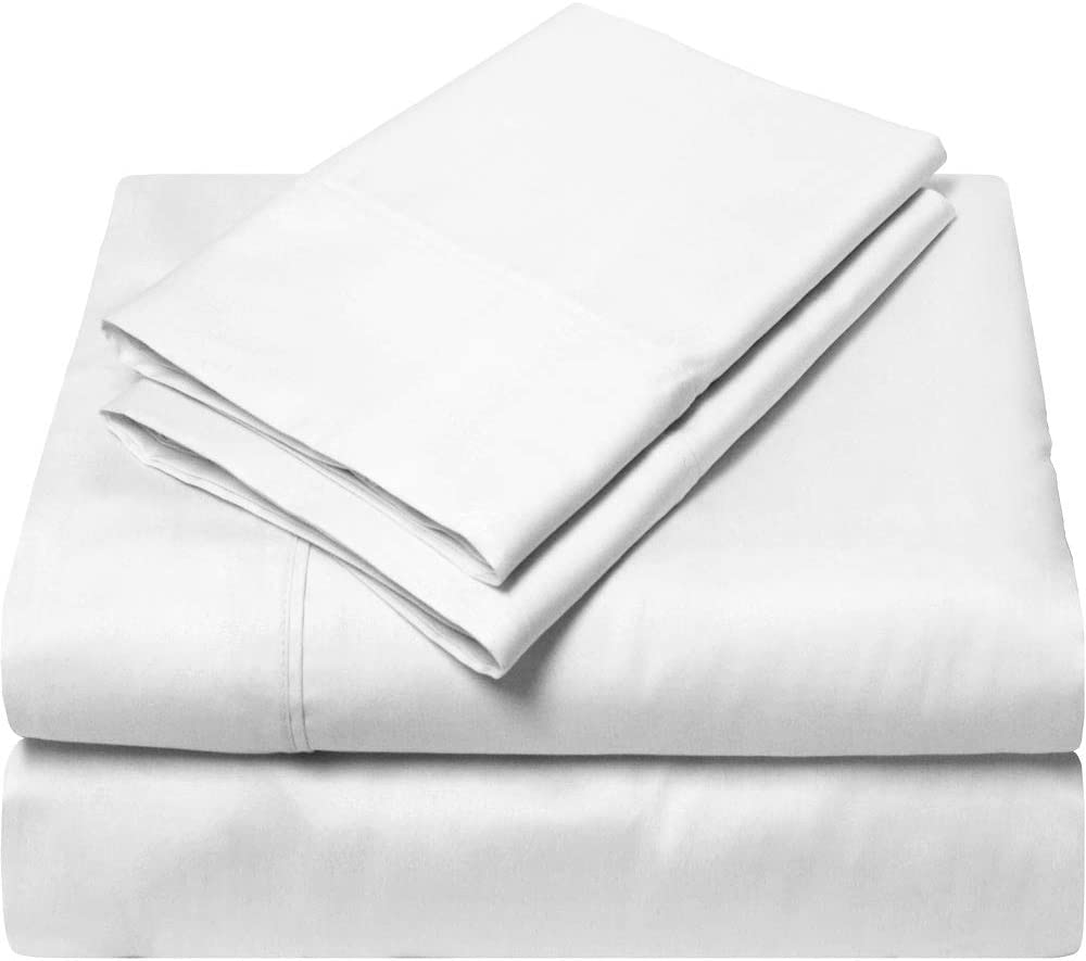 EGYPTIAN COTTON UK SUPER KING SHEET SET (Fitted Sheet, Flat sheet, Pillowcase) 600 Thread Count White Solid 38 Cm Deep Pocket # Exotic SGI Bedding Europe Collection