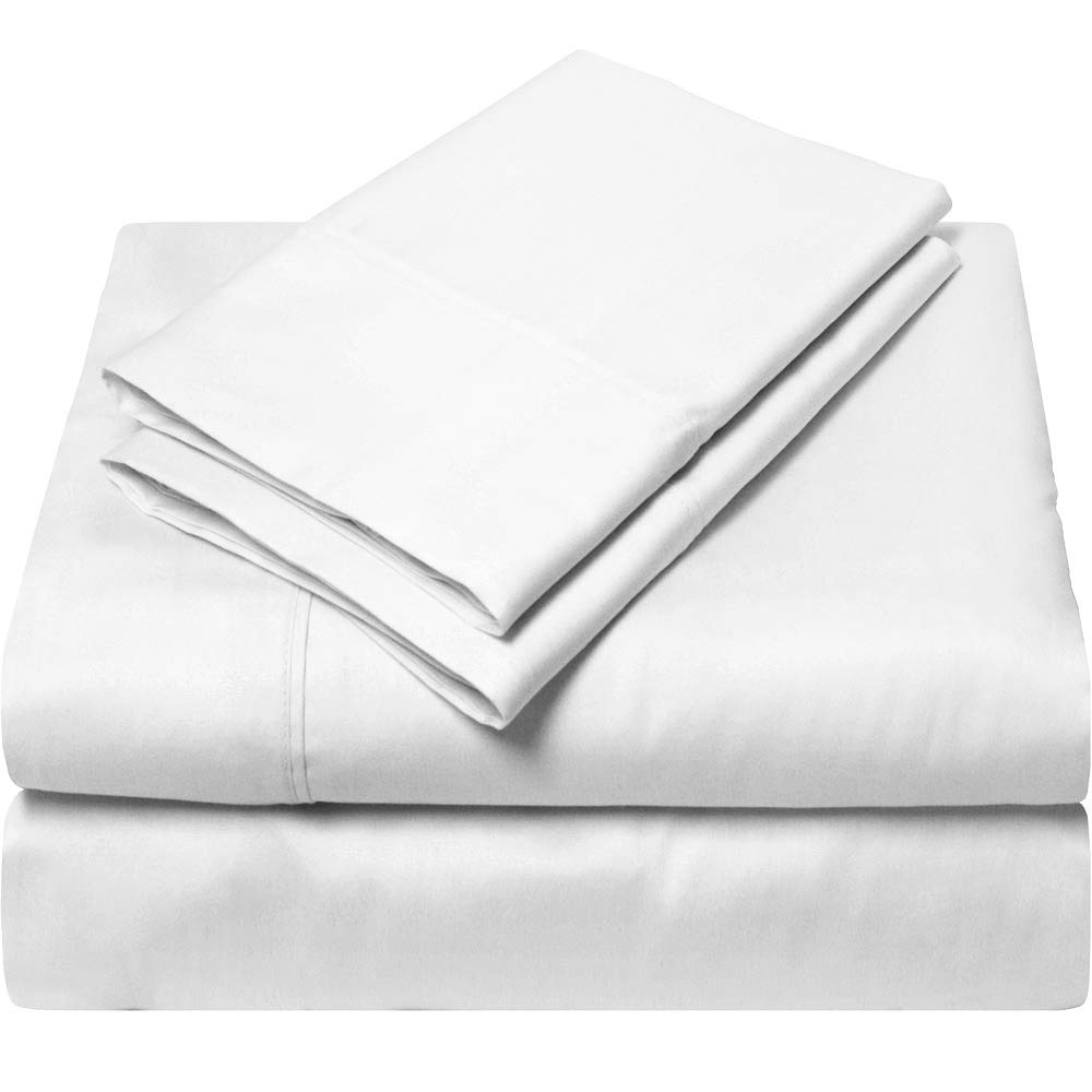 King Size Egyptian Cotton Sheets Luxury Soft 1000 Thread Count- Sheet Set for King Mattress White Solid