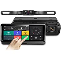 Pruveeo D700-A 4G, Android, GPS Navigation, FM, Bluetooth, 7-inch Touch Screen Backup Camera Dash Cam Front and Rear Dual Channel for Cars with Rear View Reversing