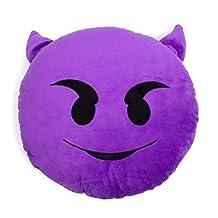 Purple Devil Shelfies Emoji Pillow